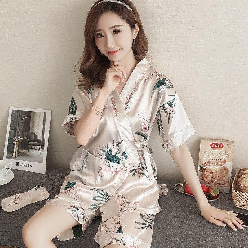 Print Shorts Womens Pijamas Set Women Sleep Pj Set Night Kimono Bathroom Women Pajama Sets Short Pant Set Robe Women Pajamas