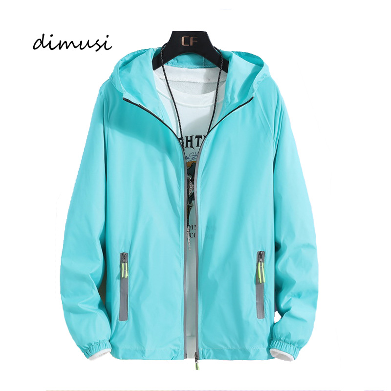 DIMUSI Autumn Mens Bomber Jackets Fashion Men Sunscreen Reflective Hoodies Coats Mens Slim Sportswear Windbreaker Jackets 7XL