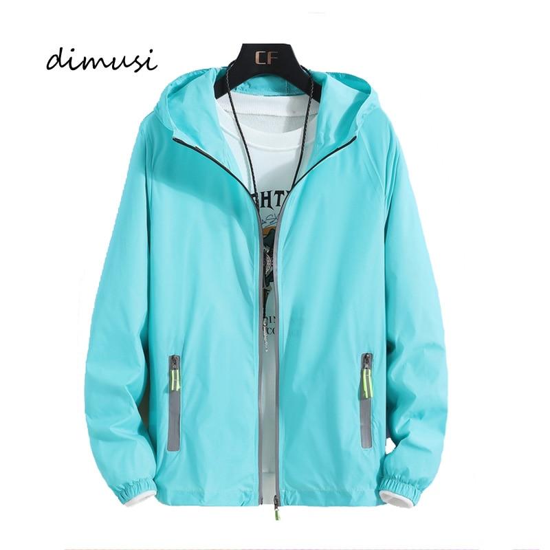 DIMUSI Autumn Mens Bomber Jackets Fashion Men Sunscreen Reflective Hoodies Coats Mens Slim Sportswear Windbreaker Jackets 7XL