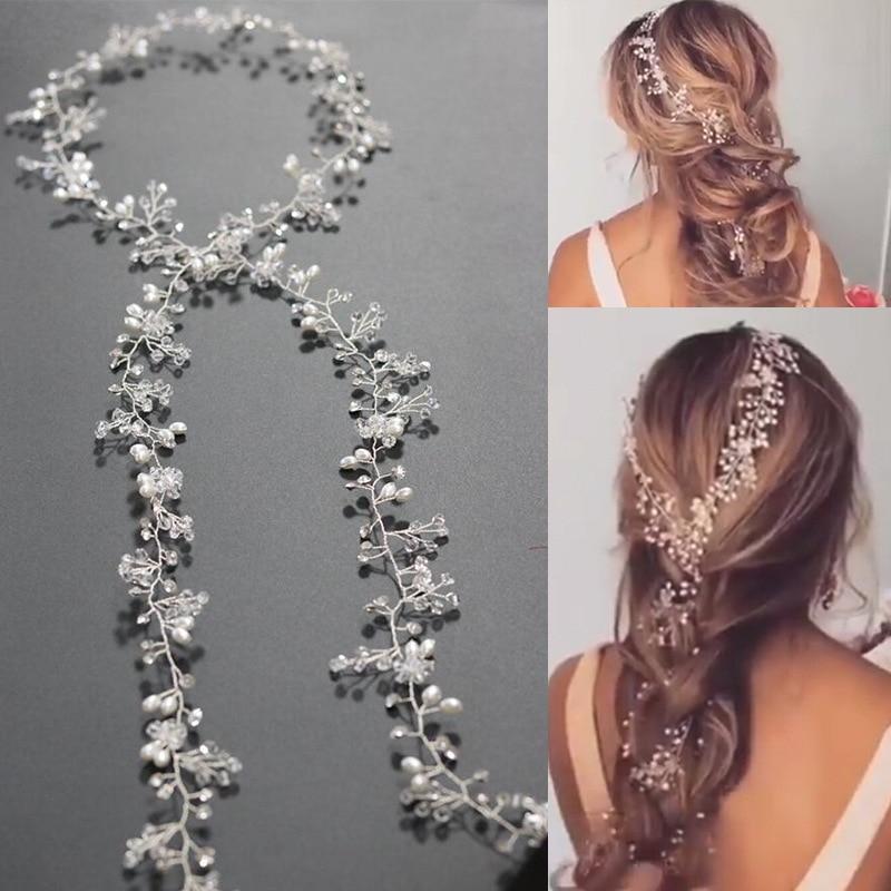 SLBRIDAL New Handmade Alloy Wired Rhinestones Crystal Pearls Flower Leaf Wedding Headband Bridal Hair Vine Hair Accessories