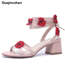 Ouqinvshen Appliques High Heels Sandals Women Peep Toe Fashion Casual Sweet Pink Pupms Shoes Women Cross-tied Summer Shoes 6CM