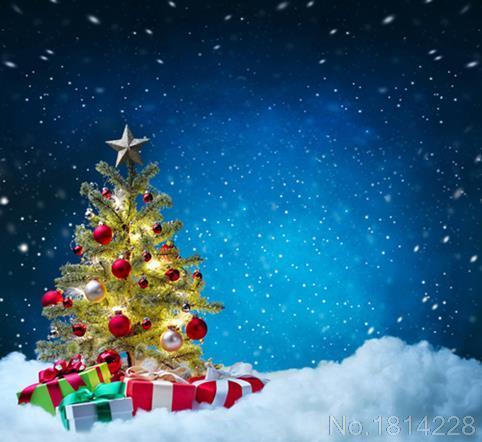 3x5ft Snow Dri Light Christmas Tree Balls Gis Blue Sky Night Custom