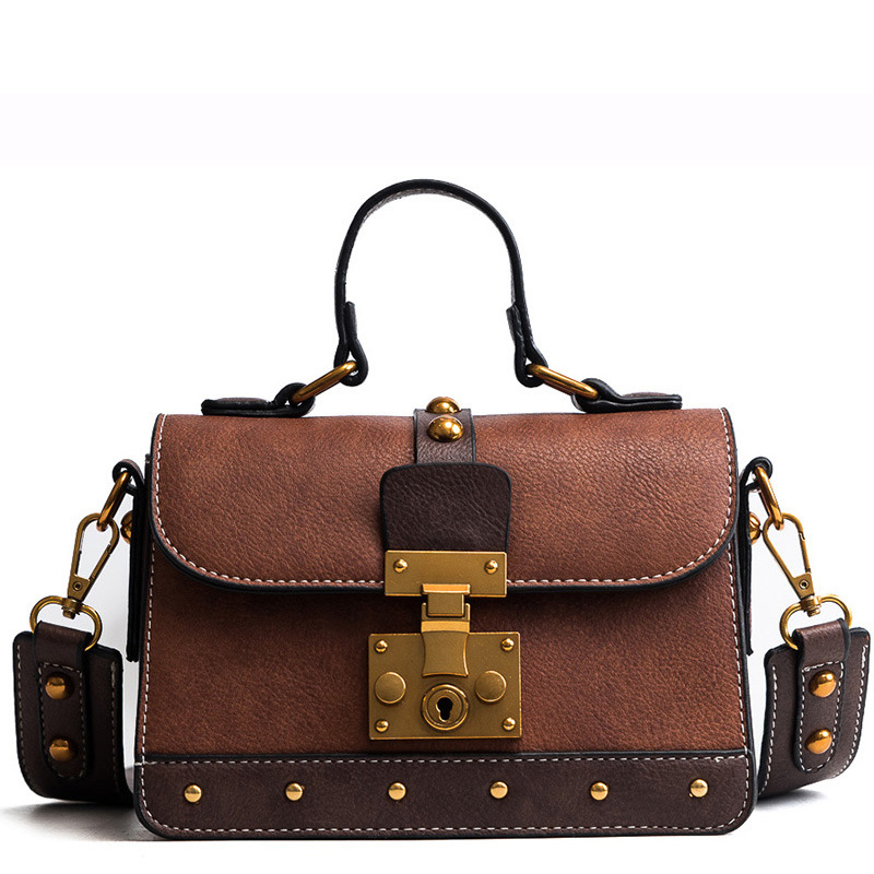2018 Handbags Women Fashion Messenger Bags Ladies Rivets Luxury Designer Shoulder Bag Retro Pu Leather Crossbody Bolsa Feminina nastenka ladies shoulder crossbody bags for women leather mini messenger bag luxury handbags women bags designer bolsa feminina