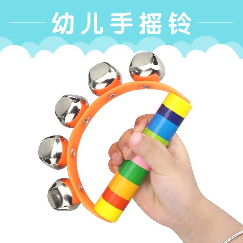 Купить с кэшбэком baby Wooden toys Stick 5 Jingle  Kids Children Bells Rainbow Hand Shake Bell Rattles Baby Educational Toy - Random Delivery 1 pc