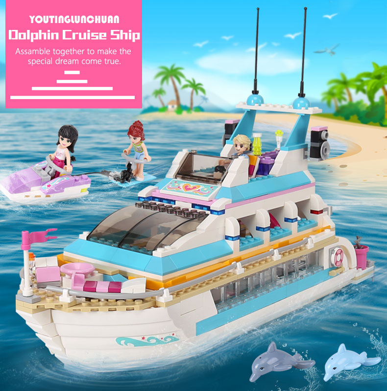The 01044 Girls Toys Compatible with Friends 41015 building blocks Dolphin Cruiser Vessel Ship children toy