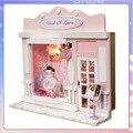 13501 amor vida noturna mercado diy Europa loja loja de casas de boneca casa de bonecas em miniatura de madeira Feitos À Mão frete grátis