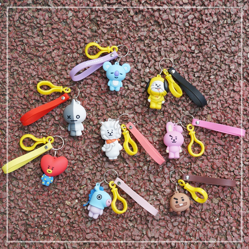 Kpop BTS BT21 Cartoon Car Key Chain Acrylic Keyring Bag Pendant TATA COOKY MANG