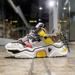 Женские массивные кроссовки на платформе 5 см; повседневная обувь из вулканизированной резины на шнуровке; роскошные дизайнерские модные ж...