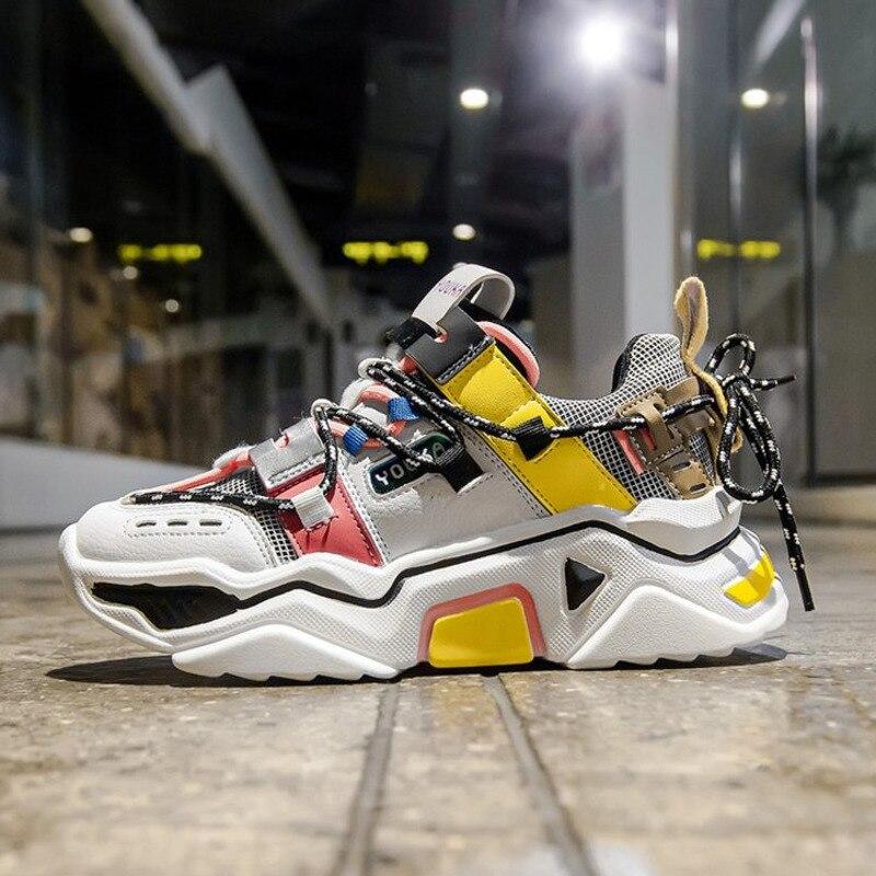 Женские кроссовки на платформе, не сужающийся книзу массивный каблук 5 см, со шнуровкой, повседневная обувь из вулканизированной кожи, роскошные дизайнерские женские кроссовки для папы, 2019