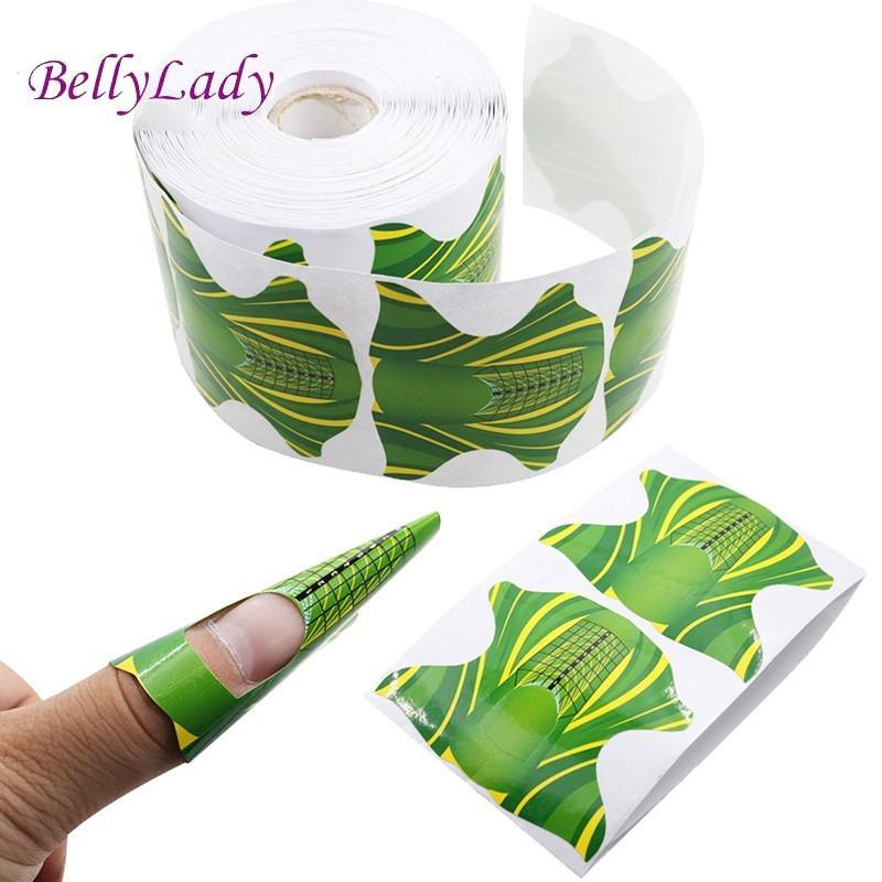 BellyLady 100 Pcs/500 Pcs Nail Form Sticker Square Sharp Self-Adhesive Manicure Tool for Acrylic UV Gel leopard pattern adhesive decorative nail tip black deep pink 100 pcs