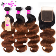 Upretty Brazilian Body Wave Weave Brown Ombre Bundles With Closure 3 Pcs Remy Human Hair 1B 30 Colored Bundles With Closure(China)