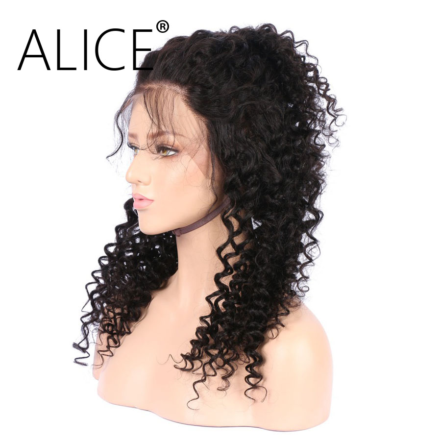 ALICE 360 Frontal Wig Bleacked Knots Brazilian Curly Human Hair Wigs  (1)