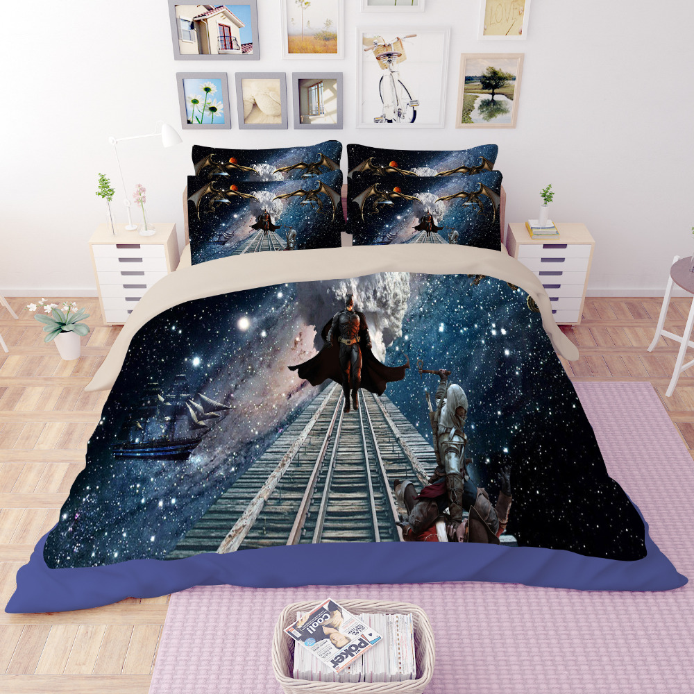 Free Shipping Batman Comforter Duvet Cover Set Twin Queen King Size Black Bedding  Sets 3/