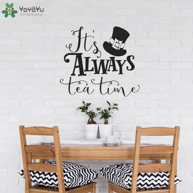 Alice In Wonderland Wall Decal Quotes Its Always Tea Time Vinyl - Vinyl wall decals quotes