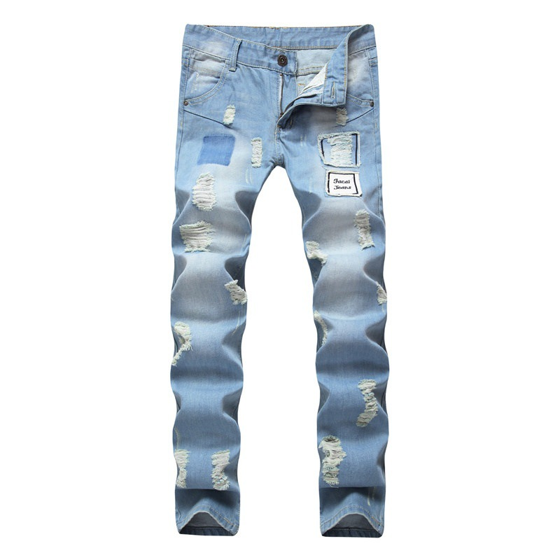 Autumn mens jeans, European and American split holes, washed and worn, mens straight trousers.