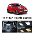 Free Shipping 4Pcs/Lot Xenon White Package Kit LED Interior Lights For KIA Picanto 2011-2014