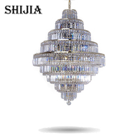 Top Luxury Big Europe Large Gold Luster K9 Crystal Chandelier Light Fixture Classic Light Fitment for Hotel Lounge Decoratiion