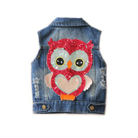 Fashion Boys Girls Sleeveless Vest Spring Autumn Outwear Cute Cartoon Owl Appliques Design Children Waistcoat Kids Jacket