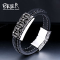 BEIER Factory Price Sale Cool Leather Men's Cool Cross Bracelet Bangle High Quality BC-L006