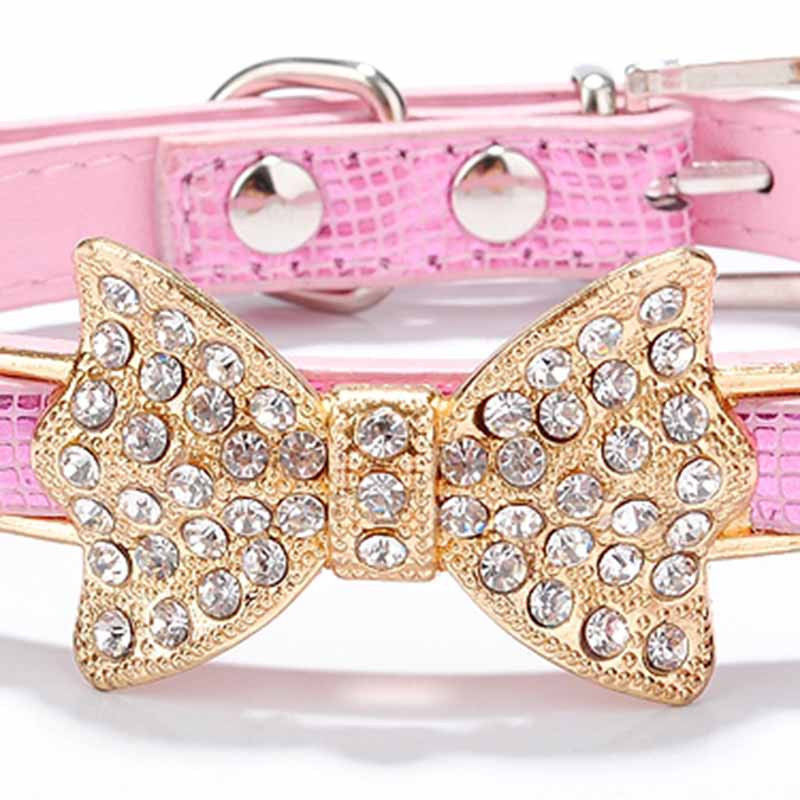 SYDZSW PU Leather Dog Collars & Leads Puppy Pet Leash Luxury Pet Products Diamond Bow Tie Chihuahua Collar Necklace for Cats Dogs10