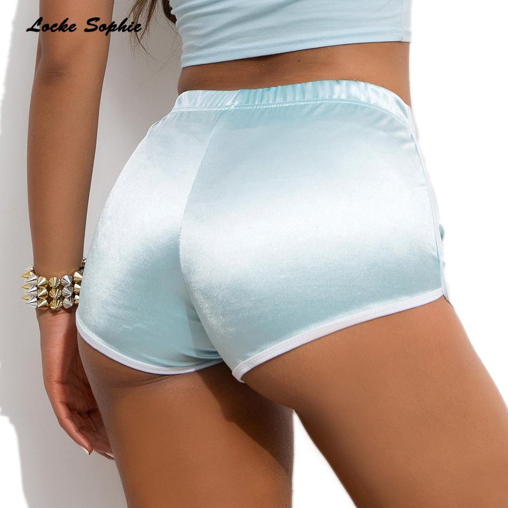 1pcs High waist Women Sexy super shorts 2019 Summer Fashion cotton blend Splicing elastic Ladies Skinny club
