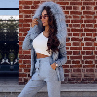 MVGIRLRU Winter Women's Sets wool warm knitted two piece set fur hoodies zip cardigan with pant suits female tracksuit