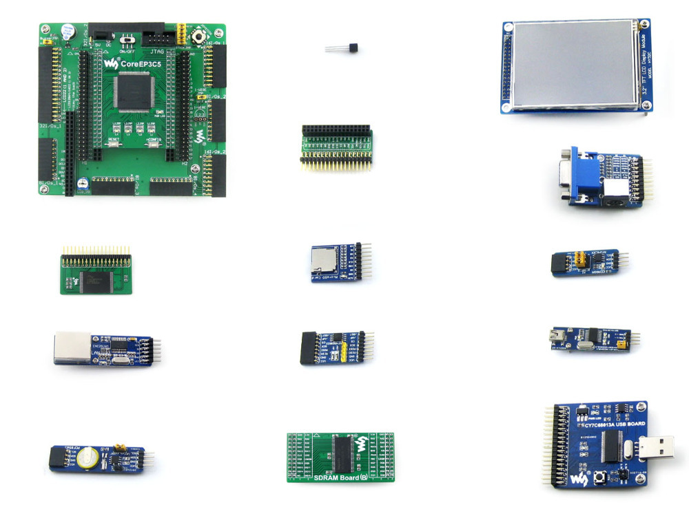 Waveshare EP3C5 EP3C5E144C8N ALTERA Cyclone III FPGA Development Board + 13 Accessory Modules Kits = OpenEP3C5-C Package A openep3c5 c standard ep3c5 ep3c5e144c8n altera cyclone iii fpga development board