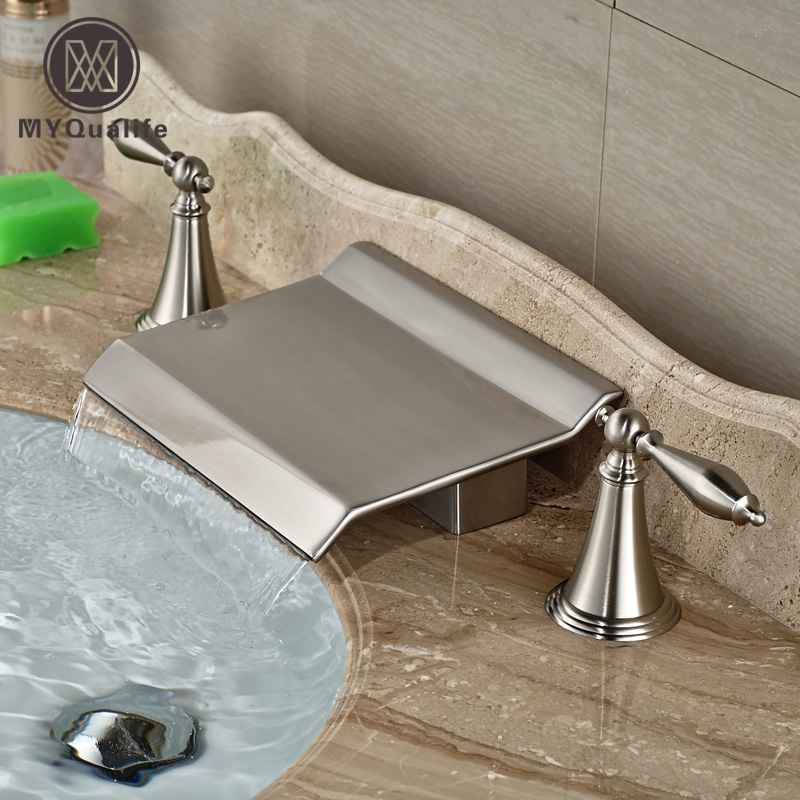 Brushed Nickel Waterfall Spout Dual Handles Bathroom Sink Basin Mixer Faucet Deck Mount 3 Holes newly dual handle godlen waterfall bathroom basin sink faucet deck mount 3 holes