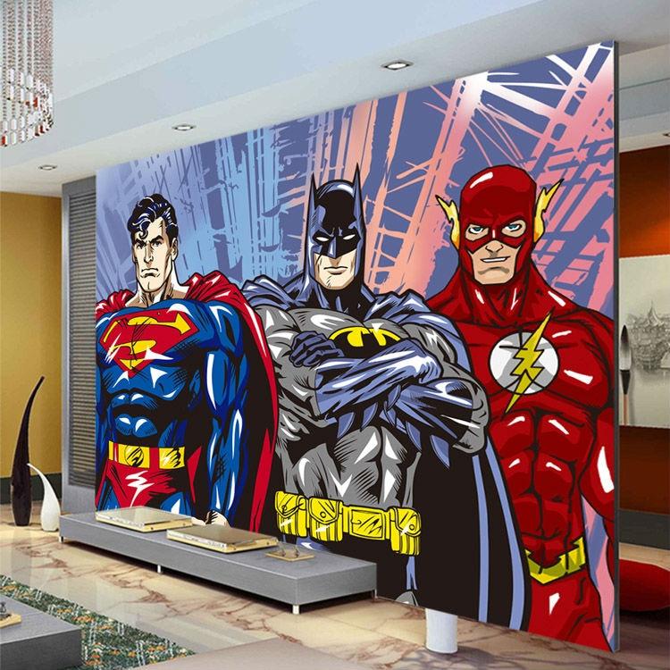 Custom 3D Wall Murals Batman Superman Flash Wallpaper Comics Photo Wallpaper Boys Kids Bedroom Living Room Room Decor Superhero