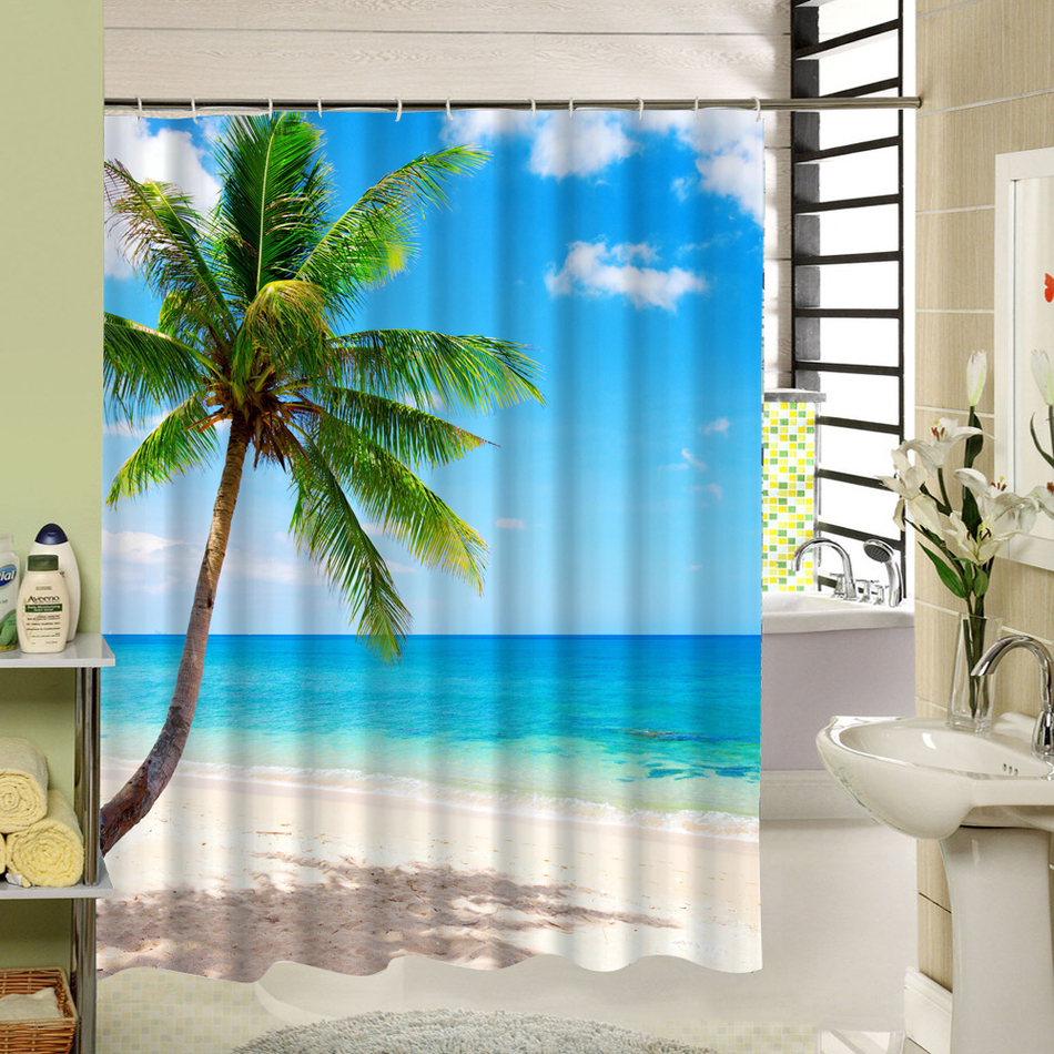 Tropical Beach Shower Curtain Palm Tree Star Fish Pattern