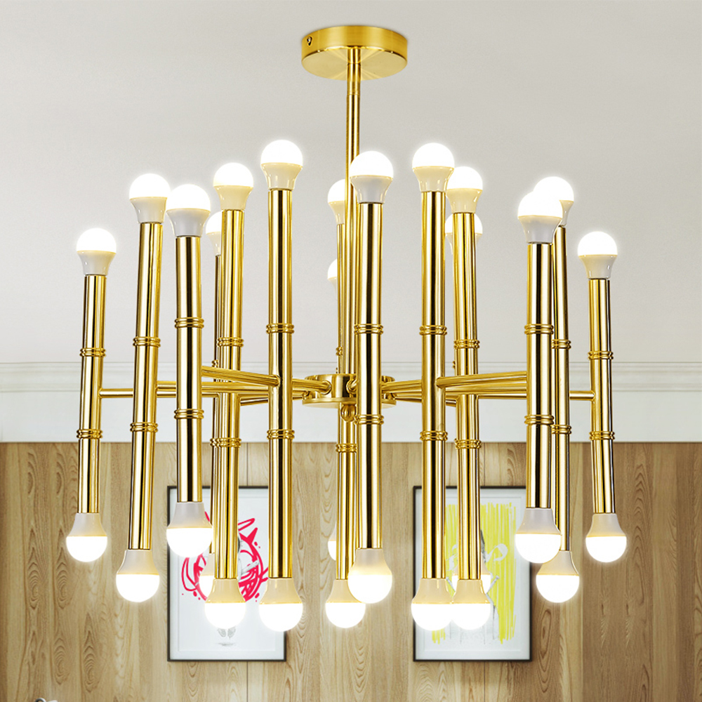 18/30 Heads E14 Bulb Gold Bamboo Shape Hanging Light Chandelier Suspension Lamp Lighting Fixture Trumpet Group for Parlor Hotel