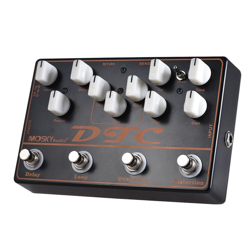 Mosky DTC pédale d'effet guitare avec distorsion Overdrive boucle retard Mini pédale d'effet 4 en 1 pièces & accessoires guitare