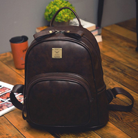 2016 Fashion Vintage Black PU Leather Backpacks For Women Preppy Bookbag New Cheap Designer Backpack Brand