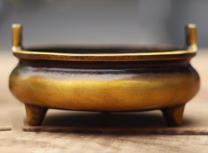 Brûleur d'encens en laiton de cuivre chinois avec marque XuanDe de la dynastie Ming