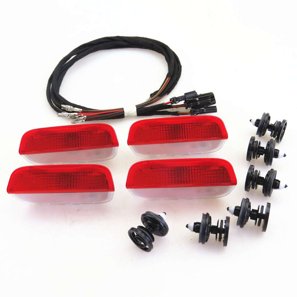 ZUCZUG Door Plate Warning Halogen Light Lamp + Cable Harness + Clip For VW EOS CC Tiguan Jetta MK5 Golf Passat CC B6 3AD 947 411 1pcs car door plate warning lights for vw cc sharan touareg passat cc b6 b7 golf jetta mk5 mk6 seat alhambra 3ad 947 411