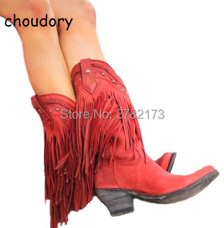 Rome Designed Women Fringed Mid-calf Boots Low Heels Lady Tassel Slip-on Motorcycle Boots Leather Cowboy Boot Shoes mabaiwan handmade rivets military cowboy boots mid calf genuine leather women motorcycle boots vintage buckle straps shoes woman
