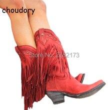 Рим предназначен для женщин до середины икры с бахромой Сапоги и ботинки низкий каблук Леди кисточкой Slip-On мотоботы кожаные ковбойские сапоги Обувь
