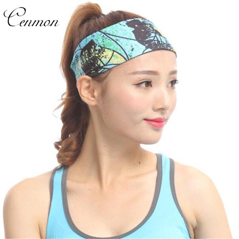 Female headband Printed fashion casual sweatband Yoga Sports Running Tennis Fitness Hairbands Hair Jewelry
