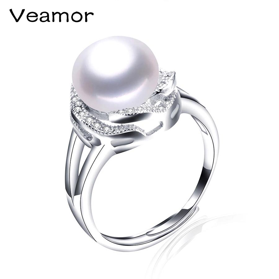 Veamore 925 Sterling Silver Jewelry Round Shape Radiant Elegance, Clear Cz  Flower Rings For Women Big Size Black Pearl Jewelry