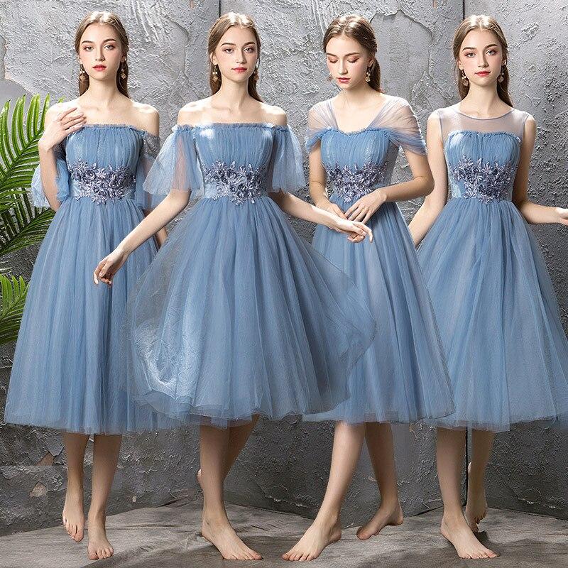 2019 nouveau moyen longue Section bleu robes de Demoiselle D'honneur mode Applique col bateau mince Robe de soirée Robe Demoiselle D'honneur L