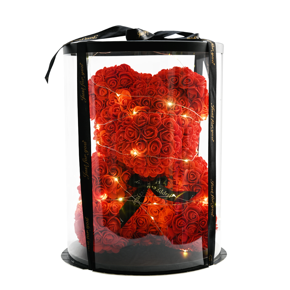 WR Valentines Day Gift 40cm Red Rose Teddy Bear Flower With Round box Artificial Decoration Christmas Gifts Women