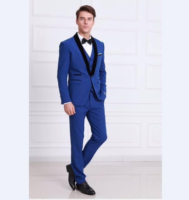 fe7a8925d7 New Arrival Groomsmen Shawl Black Lapel Groom Tuxedos Royal Blue Men Suits  Wedding Best Man Blazer