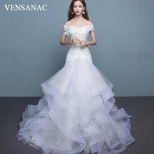 VENSANAC 2018 Sequined V Neck Tiered Tulle Sweep Train Mermaid Wedding Dresses Lace Appliques Short Sleeve Bridal Gowns