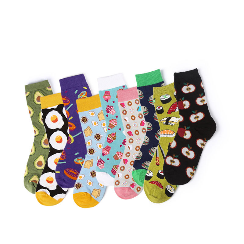 Fashion Hipster Women Skateboard Cartoon Food & Fruits Patterned Socks Harajuku Kawaii Funny Cotton Women High Socks Breathable