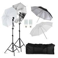 20W LED Photography Dual Photo Umbrella Lighting Video Continuous Light Kit Black/Silver &White Umbrella Reflector
