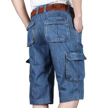 Summer New Brand Mens Jeans Denim Shorts Cotton Cargo Shorts Big Pocket Loose Baggy Wide Leg Embroidery Bermuda Beach Boardshort