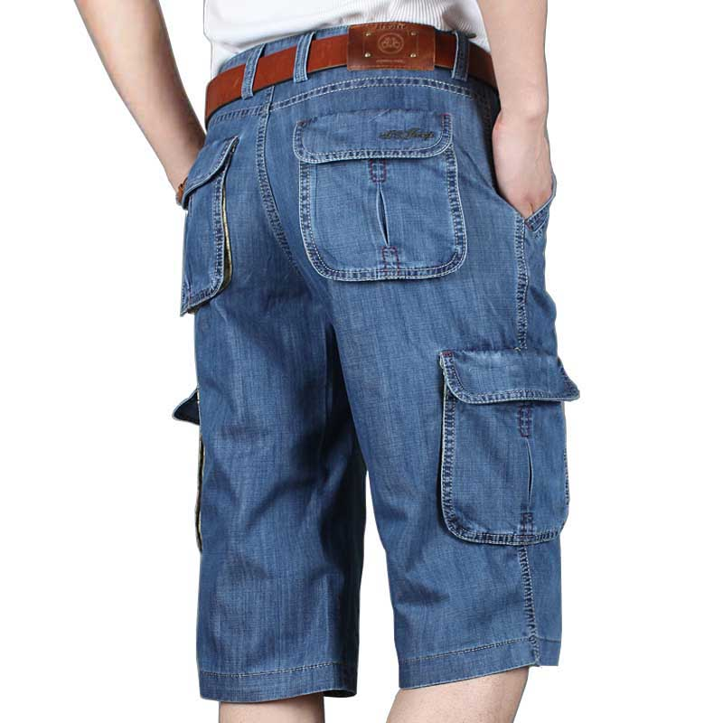 Summer New Brand Mens Jeans Denim   Shorts   Cotton Cargo   Shorts   Big Pocket Loose Baggy Wide Leg Embroidery Bermuda Beach Boardshort