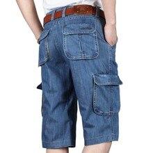 Verão nova marca dos homens calças de brim shorts algodão carga shorts grande bolso solto baggy perna larga bordado bermuda praia boardshort
