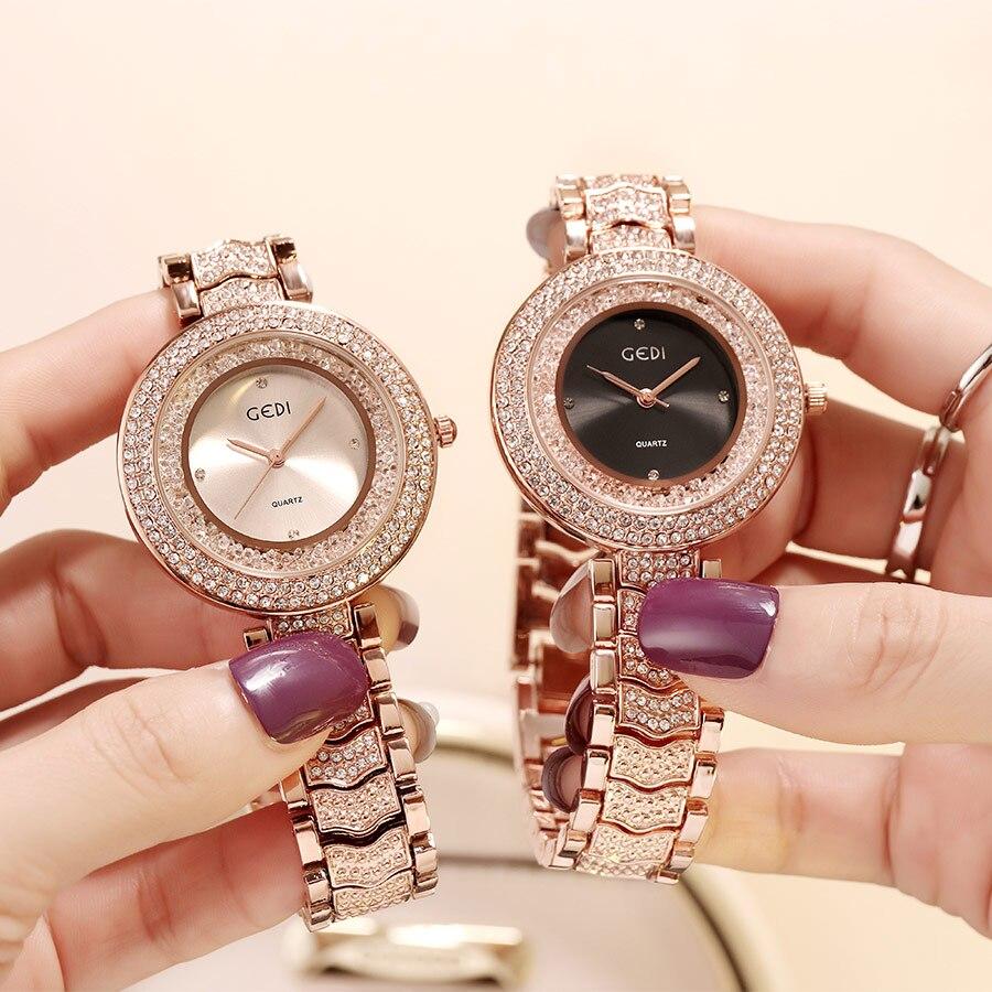 GEDI Watch Women Rhinestone Luxury Brand 2019 Ladies Clock Fashion Woman Women's Watch Waterproof Female Wristwatch Reloj Mujer