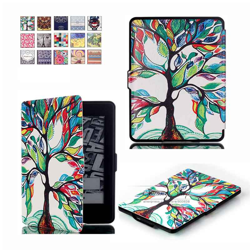 Painted Cover for Amazon Kindle Paper White 1 2 3 PU Leather Case Stand Folio Smart Fundas Capa Para for Amazon Paper White ultra slim protective pu flip open smart case for amazon kindle paper white brown